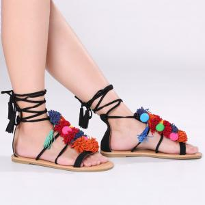 Exotic Flat Strappy Sandals with Tassels Lace Up - Black - 40