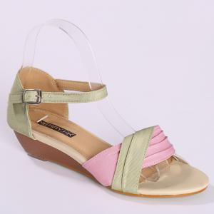 Color Block Low Wedge Sandals - PAPAYA 39
