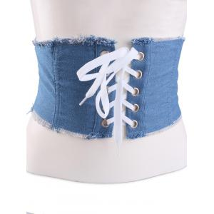 Fringe Brim Lace Up Denim Corset Belt