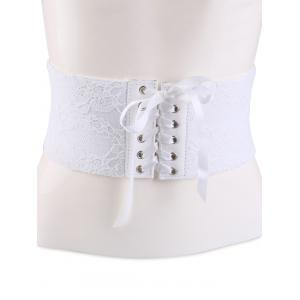 Lace Up Vintage Lacework Corset Belt - White