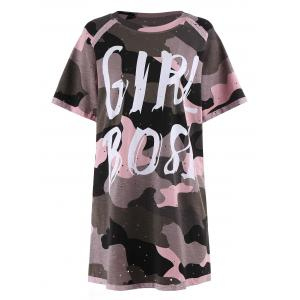 Plus Size Camouflage Print Ripped Tunic Tee