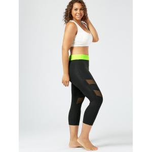 Mesh Panel Plus Size Capri Fitness Leggings - BLACK XL