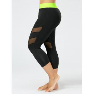 Mesh Panel Plus Size Capri Fitness Leggings - Black - 4xl