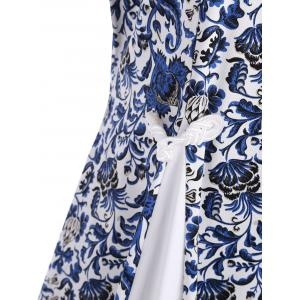Printed Plus Size Midi Chinese Vintage Style Dress -
