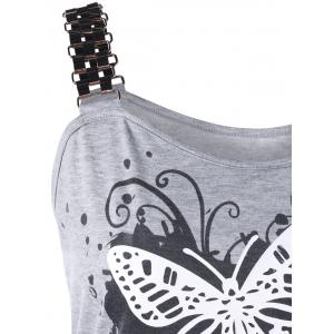 Butterfly Print Smocked Plus Size Tank Top - GRAY 5XL