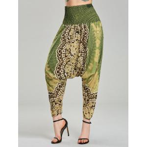 Tribal Printed Elastic Waist Cross Pants