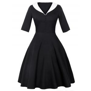 Shawl Collar 50s Dress - Black - 2xl