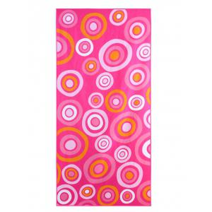 Circle Printed Polyester Rectangle Bath Towel - Pink - W15.5 Inch * L67 Inch