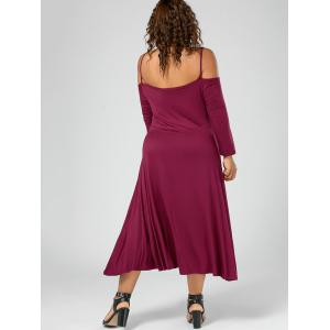 Plus Size Spaghetti Strap Cold Shoulder Party Dress - WINE RED 4XL