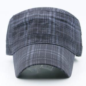 Flat Top Tiny Plaid Military Hat - DEEP GRAY