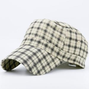 Flat Top Tiny Plaid Military Hat - YELLOW