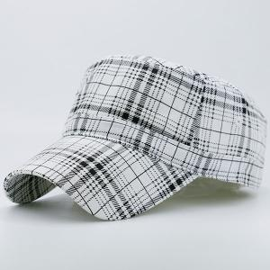 Flat Top Tiny Plaid Military Hat - WHITE