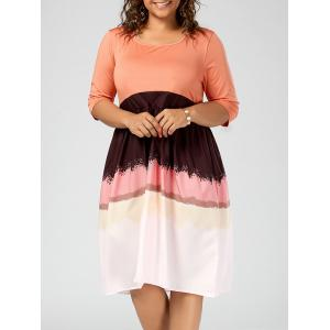 Plus Size Color Block Fit and Flare Dress
