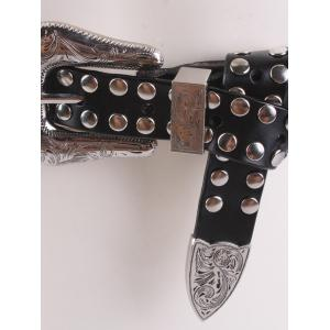 Metal Engraved Pin Buckle Rivet Waist Belt - BLACK