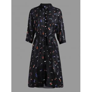 Cartoon Printed Chiffon Plus Size Shirt Dress
