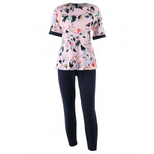 Plus Size Floral Printed  Top and Cigarette Pants