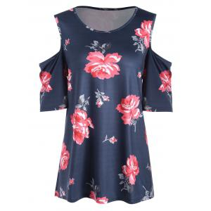 Plus Size Floral  High Low Open Shoulder T-shirt - Purplish Blue - 5xl