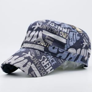 Flat Top Graffiti Letters Printing Military Hat -