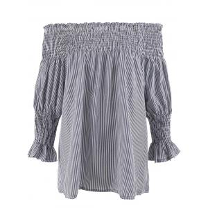 Stripe Ruffled Off The Shoulder Plus Size Top - Gray - 5xl