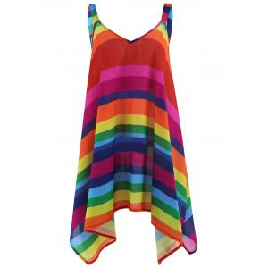Plus Size Rainbow Striped Spaghetti Strap Top - Multicolor - 5xl