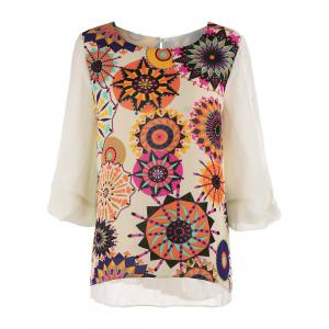 Plus Size Printed Pleated Chiffon Top