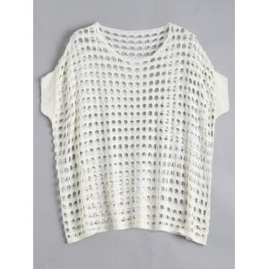 See Through Crochet Knit Plus Size Top - Off-white - 2xl