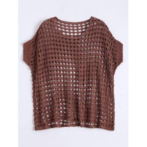 See Through Crochet Knit Plus Size Top - Brown - Xl