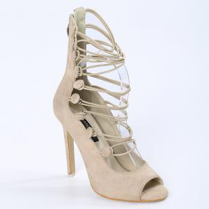 Stiletto Heel Buttons Chaussures Peep Toe -