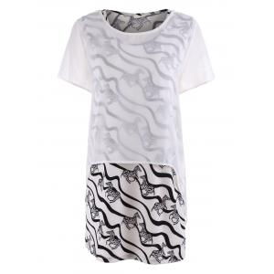 Plus Size Zebra Stripe Tank Dress and Sheer Asymmetric Blouse - White - 3xl
