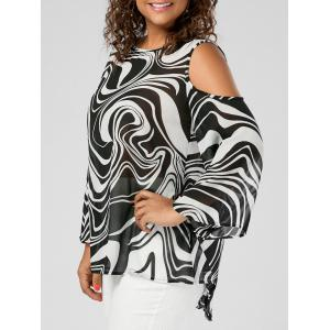 Plus Size Graphic Cold Shoulder High Low Top - White And Black - 5xl