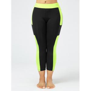 Plus Size Two Tone Workout Tights with Pockets - BLACK XL