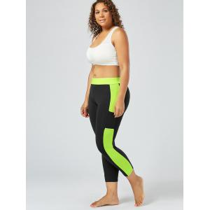 Plus Size Two Tone Workout Tights with Pockets - BLACK 2XL