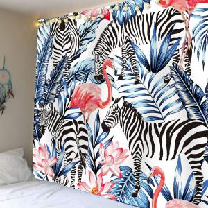 Zebra Flamingo Floral Print Waterproof Tapestry