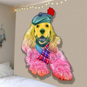 Home Decor Dog in Hat Wall Tapestry