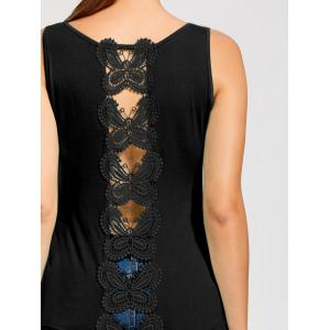 Hollow Out Butterfly Lace Back Tank Top - BLACK L