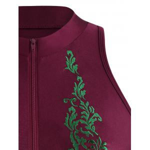 Embroidered High Neck Plus Size Swimsuit - WINE RED 4XL