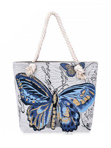 Butterfly Printed Canvas Shoulder Bag - Blue