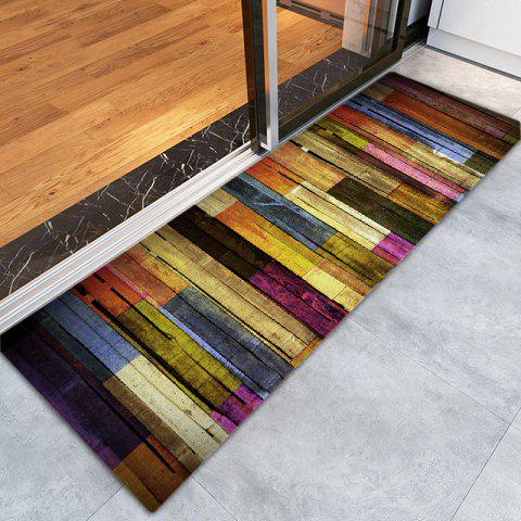 Unique Colorful Wood Flooring Pattern Anti-skid Water Absorption Area Rug - W24 INCH * L71 INCH COLORMIX Mobile