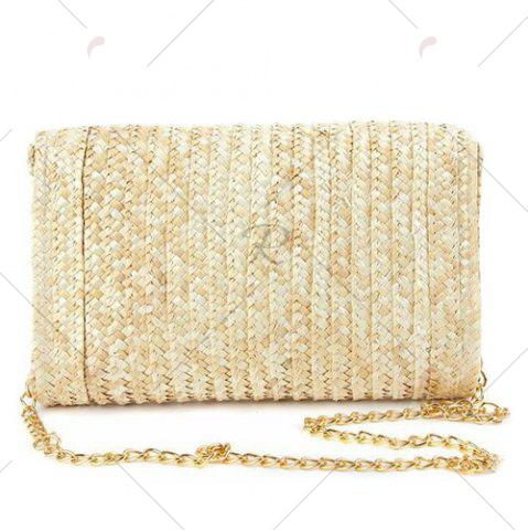 Shops Fruit Embroidery Straw Crossbody Bag - YELLOW  Mobile
