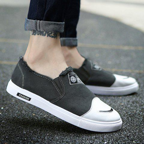 Unique Slip On Color Block Canvas Shoes - 42 DEEP GRAY Mobile