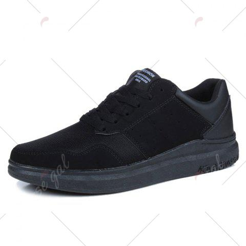Trendy Breathable Mesh Faux Suede Casual Shoes - 40 BLACK Mobile