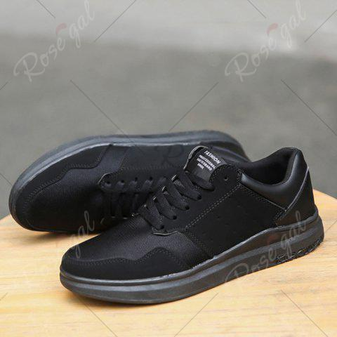 Latest Breathable Mesh Faux Suede Casual Shoes - 40 BLACK Mobile