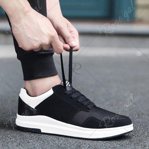 Fancy Breathable Mesh Faux Suede Casual Shoes - 43 BLACK WHITE Mobile
