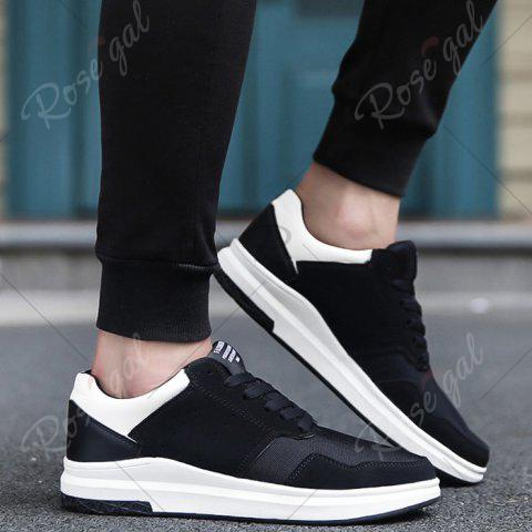 Trendy Breathable Mesh Faux Suede Casual Shoes - 43 BLACK WHITE Mobile