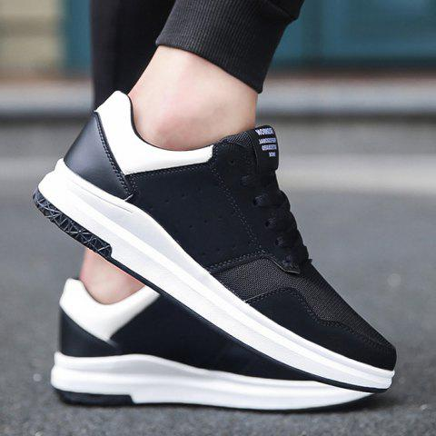 Affordable Breathable Mesh Faux Suede Casual Shoes - 43 BLACK WHITE Mobile