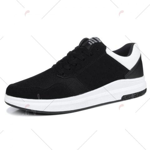 Sale Breathable Mesh Faux Suede Casual Shoes - 43 BLACK WHITE Mobile