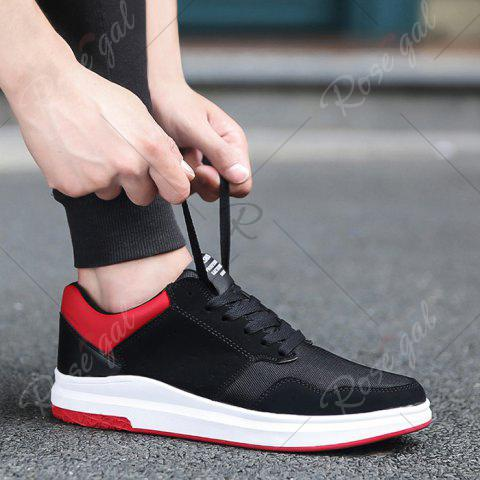 Discount Breathable Mesh Faux Suede Casual Shoes - 43 BLACK RED Mobile