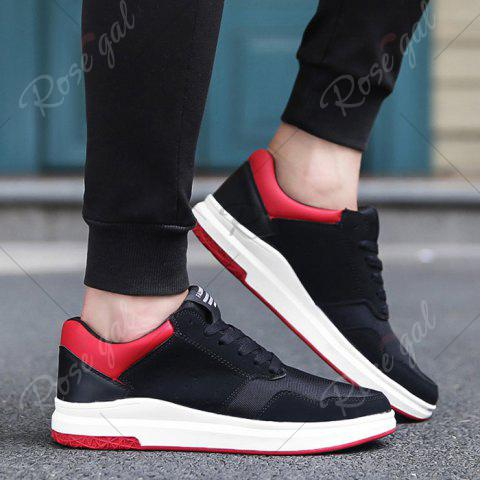 Outfits Breathable Mesh Faux Suede Casual Shoes - 43 BLACK RED Mobile
