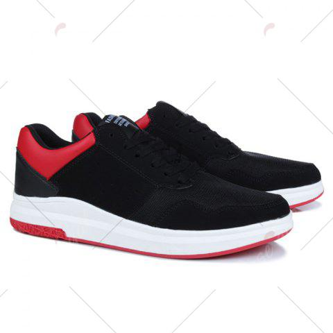 Best Breathable Mesh Faux Suede Casual Shoes - 43 BLACK RED Mobile