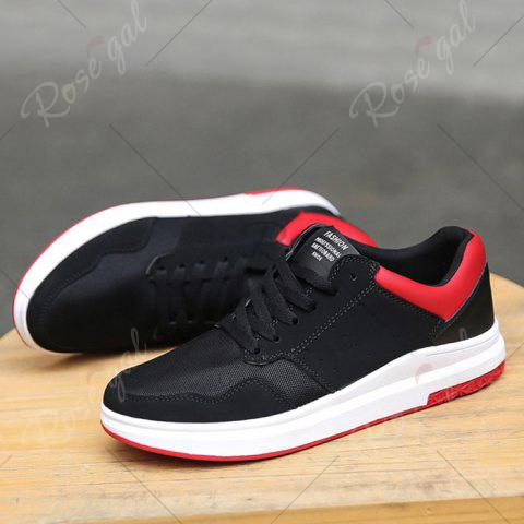 New Breathable Mesh Faux Suede Casual Shoes - 43 BLACK RED Mobile